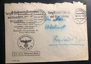 1944 myslowitz germany official arbeitsamt employment agency cover to frankfurt ebay. Black Bedroom Furniture Sets. Home Design Ideas