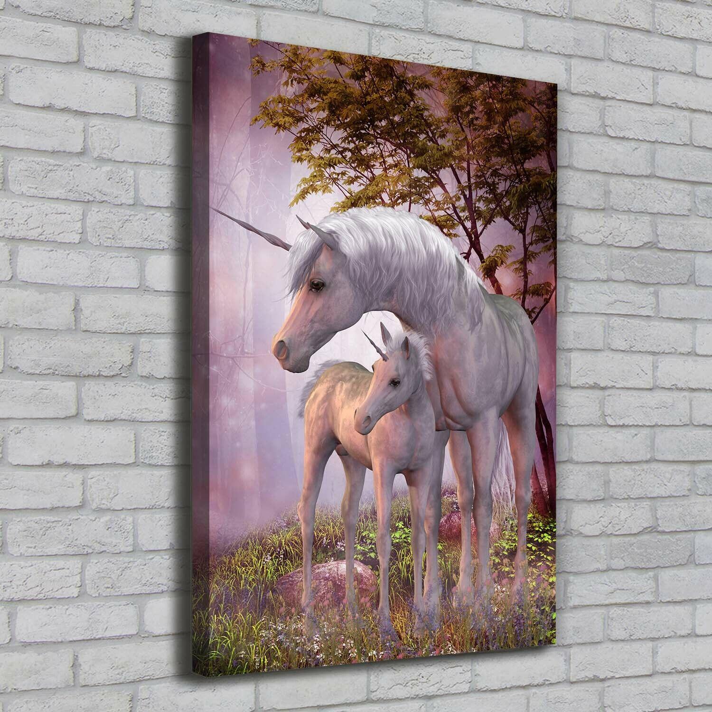 Leinwand-Bild Kunstdruck Hochformat 70x100 Bilder Einhörner