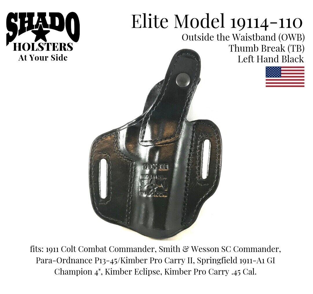 SHADO Leather Holster USA Elite Model 19114-110 Left Left Left Hand negro OWB TB 1911 Colt 09aef4
