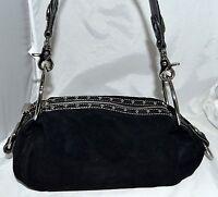 Kathy Van Zeeland Black Faux Suede Leather Croc Bracelet Wristlet Shoulder Bag