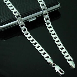 Fashion-925Sterling-Silver-4MM-16-034-30inch-Figaro-Curb-Chain-Necklace-Link-Italy
