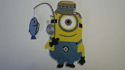 DESPICABLE ME MINION FISHERMAN FISHING EMBROIDERED PATCH BADGE IRON OR SEW ON