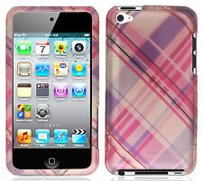 For Apple iPod Touch 4 HARD Protector Case Snap on Cover Pink Purple Plaid