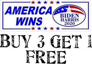 """BIDEN WON GET OVER IT Bumper Sticker 8.7/"""" X 3/"""" Biden Harris 2020 WINS!"""