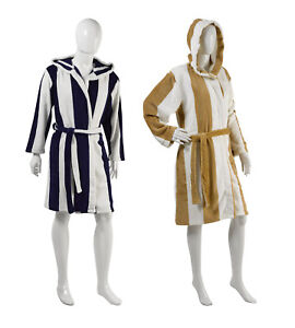 Image is loading Ladies-Mens-Slenderella-Striped-Hooded-Dressing-Gown-Soft- aa18aed02