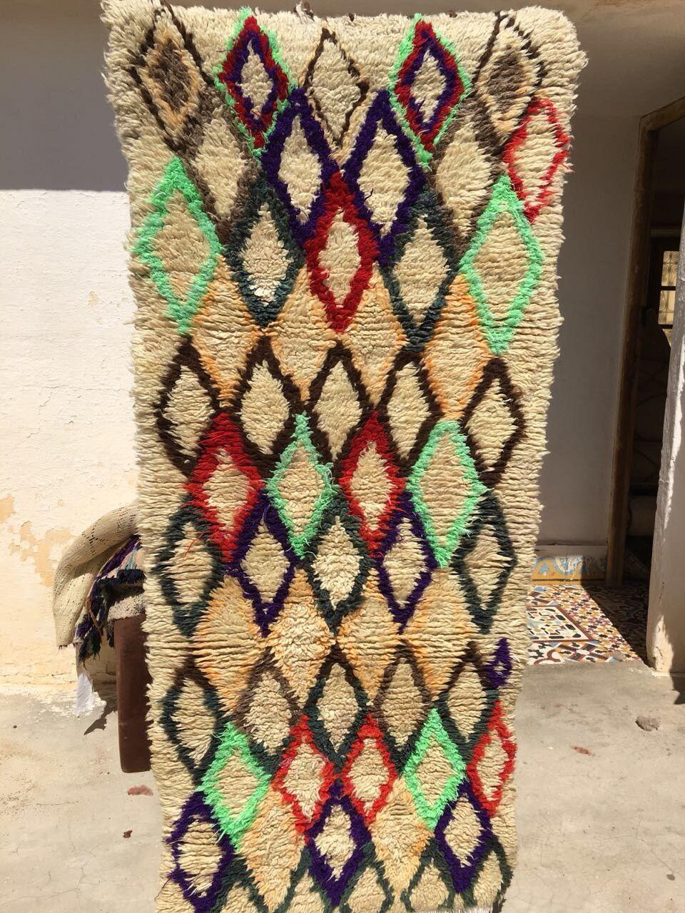 Vintage Moroccan Azilal Handmade Rug  M07 Wool Berber Tribal 5'5  x 2'2