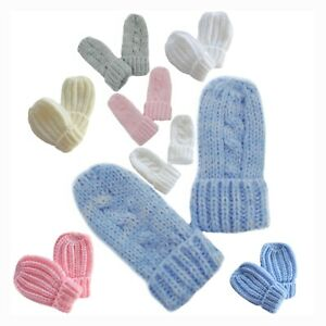 Blue 12 Months Newborn Size Baby Mittens Winter Warm Knitted Mitts Boys Ribbed Gloves Girls Plain Knit Acrylic Mittens Colour