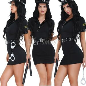 Ladies-Police-Cop-Officer-Costume-Policewoman-Cosplay-Fancy-Dress-Uniform-Outfit