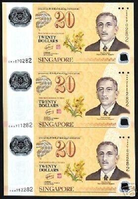 Set SINGAPORE BRUNEI 20 DOLLARS 2007 Commemorative UNC POLYMER 2 NOTE FOLDER