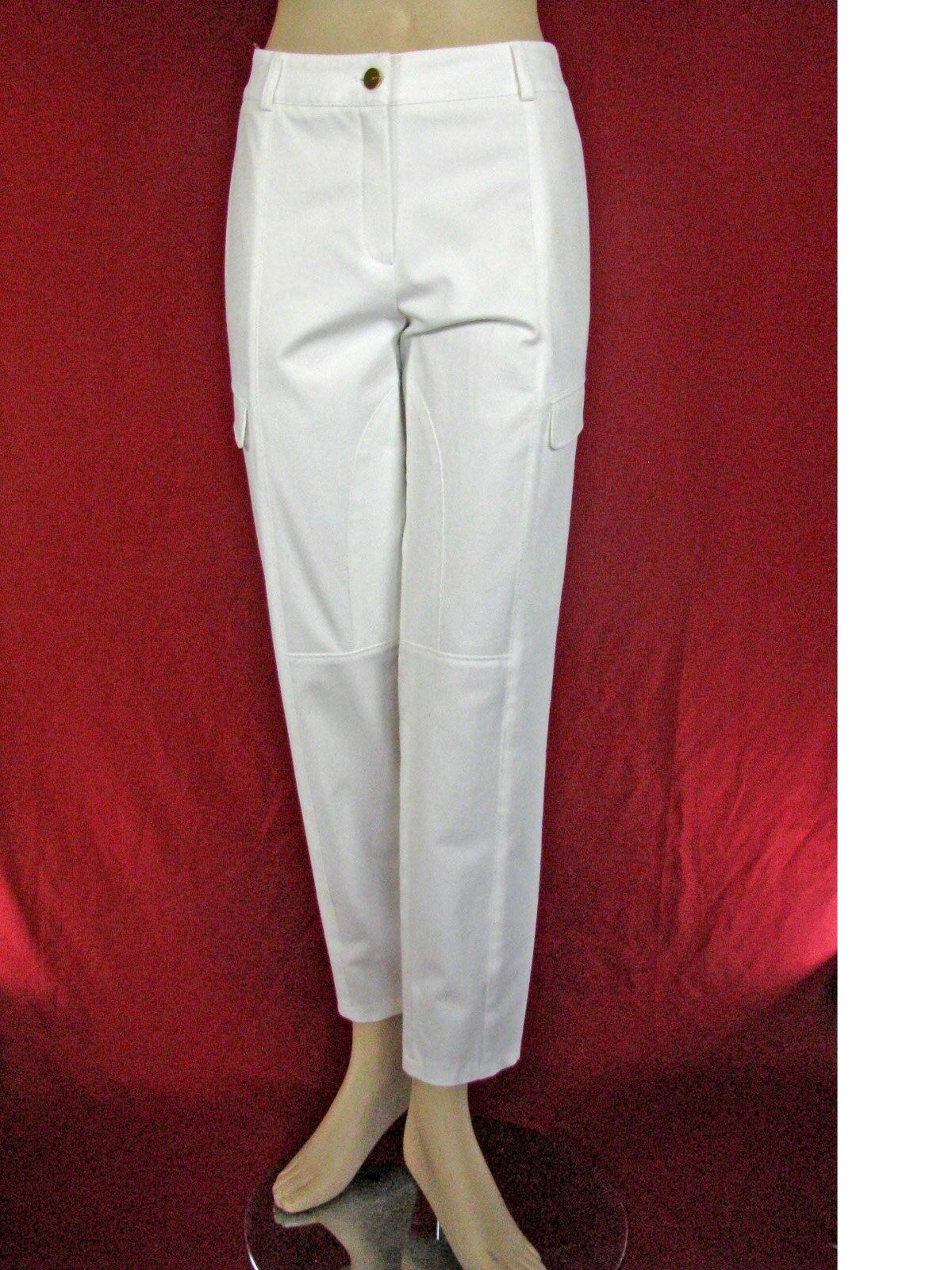 525 NWT  Escada White Cotton Logo Pants Size 44