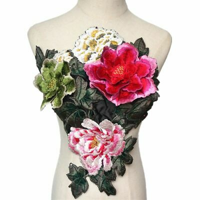 3d Peony Flowers Leaves Sew Patches Embroidered Trimmings Applique