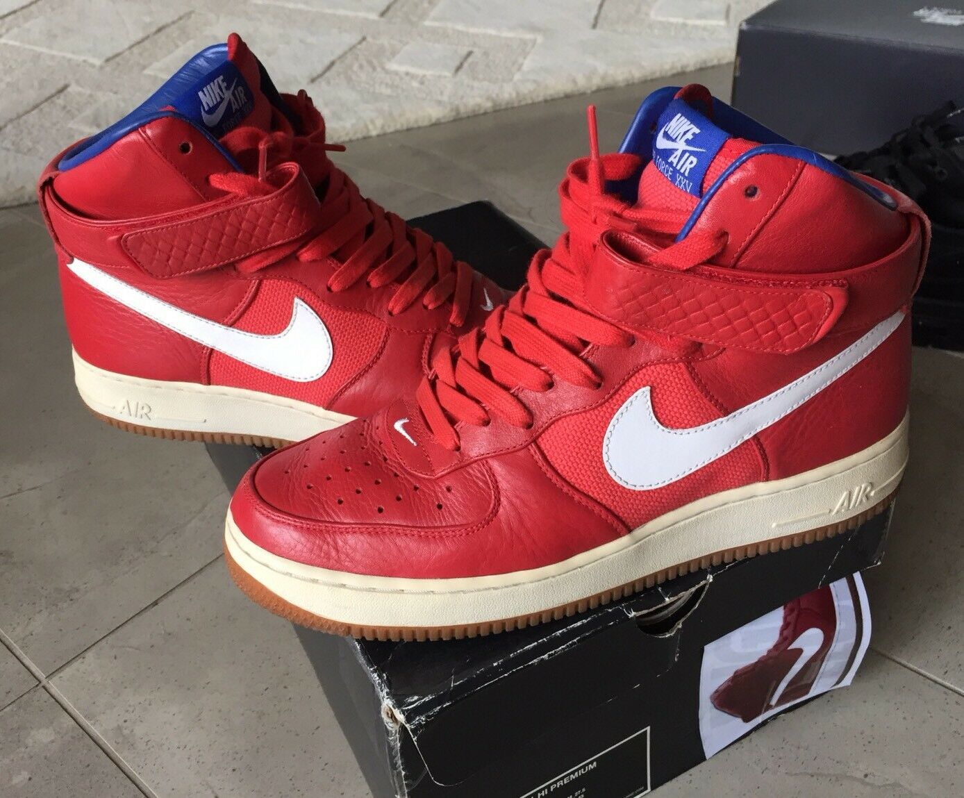 Nike Air Force 1 Bobbito Garcia Gum Premium QS QS QS High 9.5 White Red Blue Dunk b442f3