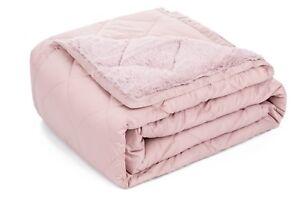 Twin Size Comforter Plush Fleece Blanket Decorative Coverlet Pink 600 Tc Cotton Bedding Home Décor