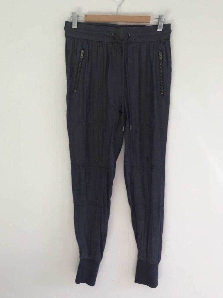 WITCHERY Blau NIGHT SMITH RIB PANTS   ACTIVE WEAR Größe 8 BRAND NEW WITH TAGS