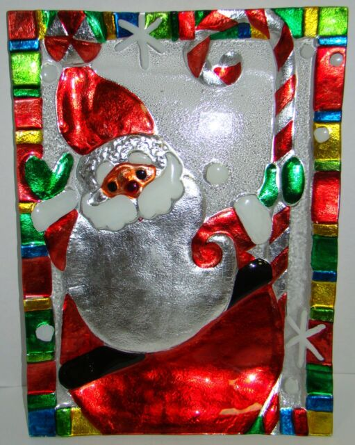Ganz Santa Claus Christmas Glass Platter New !