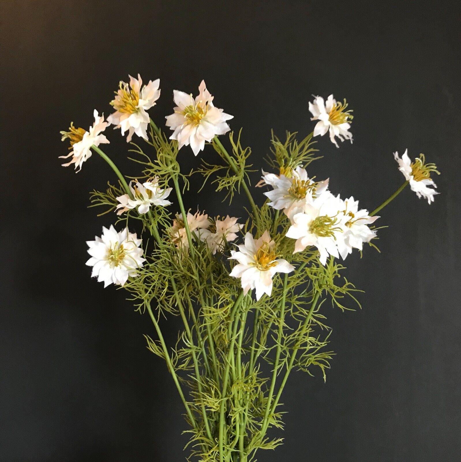 Bunch Artificial Weiß Nigella, Realistic Wild  Summer Meadow Flowers Daisies