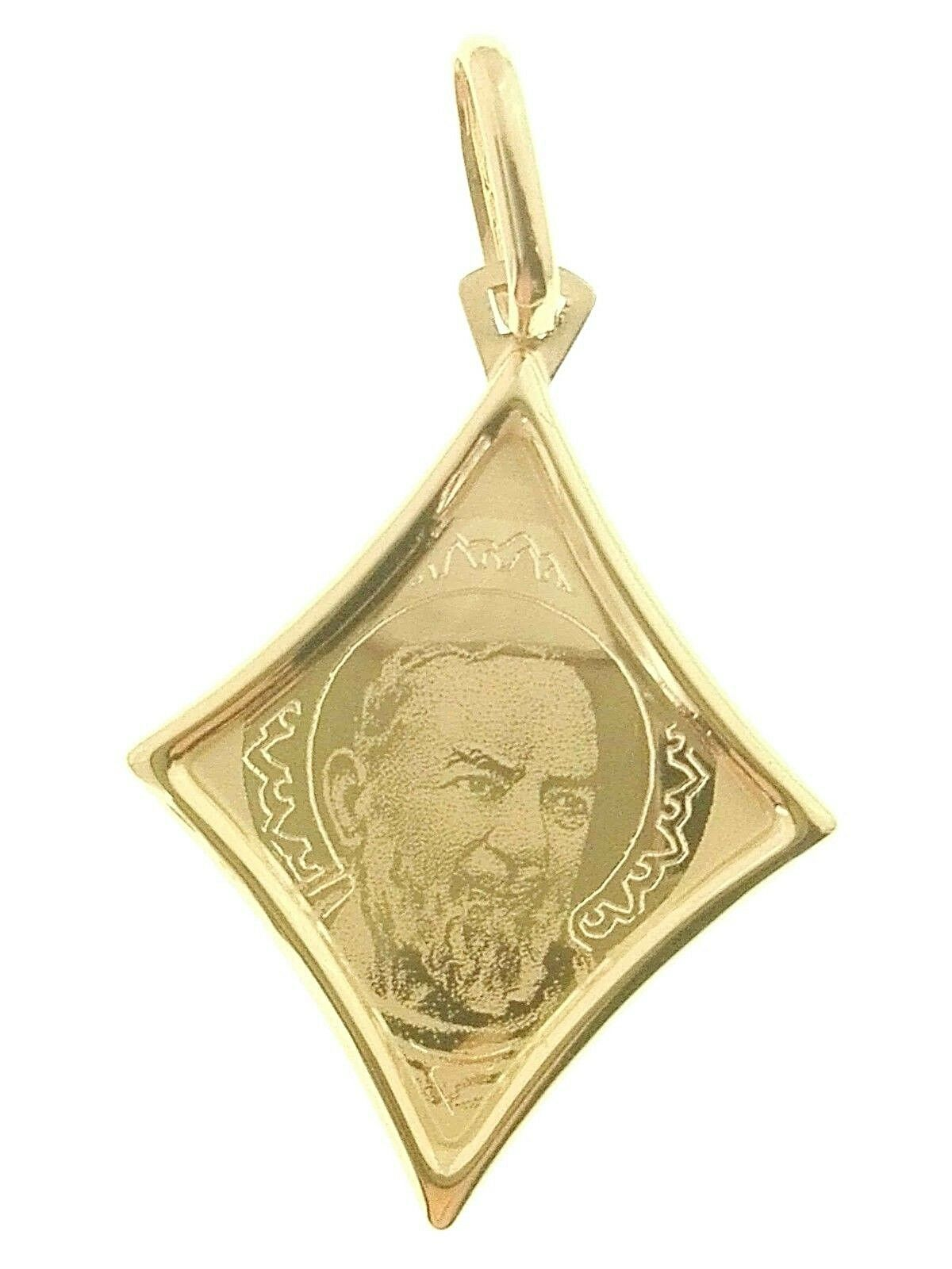 Ciondolo Pendente Medaglia Padre Pio oro Giallo Giallo Giallo 18 Kt Carati Ct 750 0 95 Gr bd2b6e