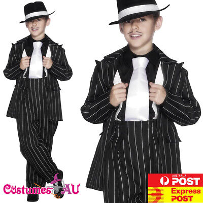 Boys 1920s Gangster Mafia Mob Fancy Dress Costume Childs Book Day Outfit