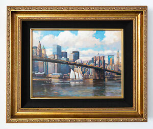 Brooklyn Bridge Original Signed Framed Oil on Canvas Painting   Free Shipping