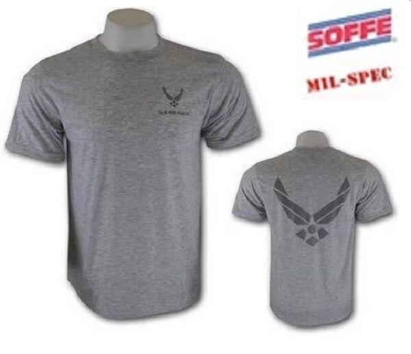 US AirForce Wing PT Army Sportshirt USAF Shirt grey New Logo reflektierend Gr. M