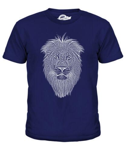 Lion Visage Sketch Kids T-shirt homme à imprimé Big Cat roi des animaux