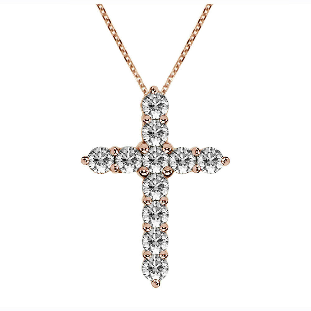 1.25 CT Classic Shared Prong Diamond Cross Pendant in 14k pink gold NEW