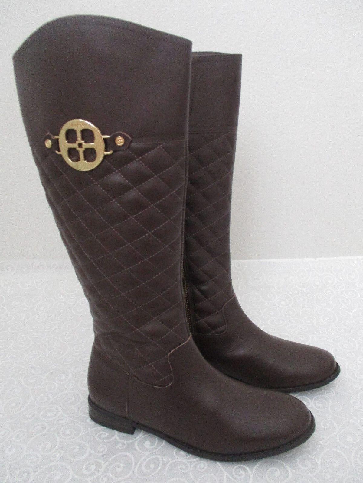 IMAN De Cuero Marrón Chocolate la rodilla botas altas  2 M-Nuevo