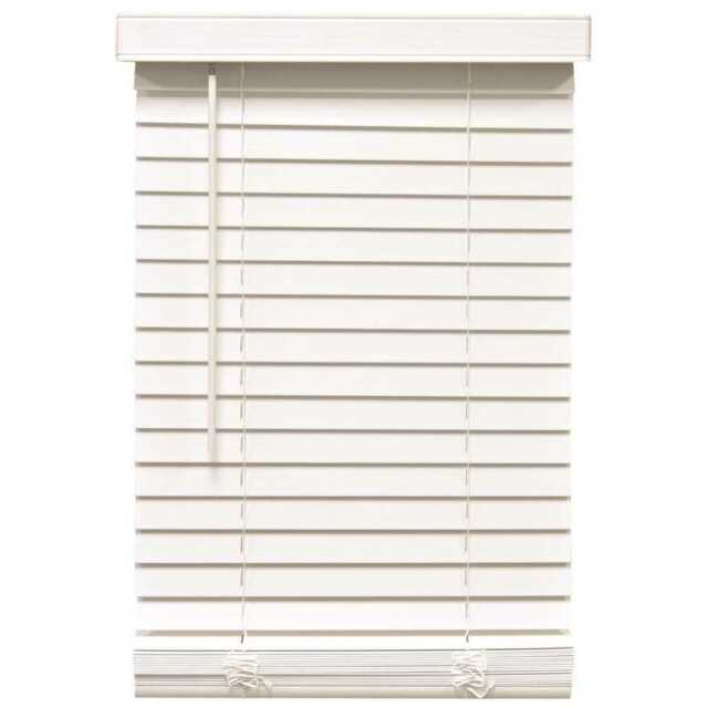 Cordless 2 Inch Faux Wood Blinds.Designer S Touch Cordless 53 W X 48 L Faux Wood White 2 Slat Mini Blinds