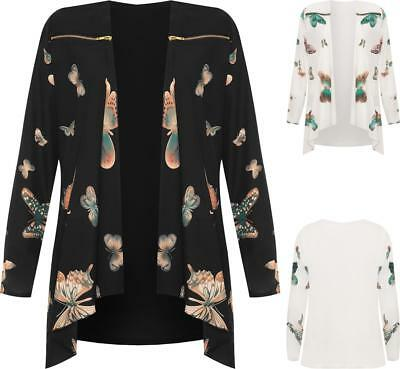 Ladies Plus Size Lightweight Waterfall Chiffon Butterfly Print Jacket Top Blouse