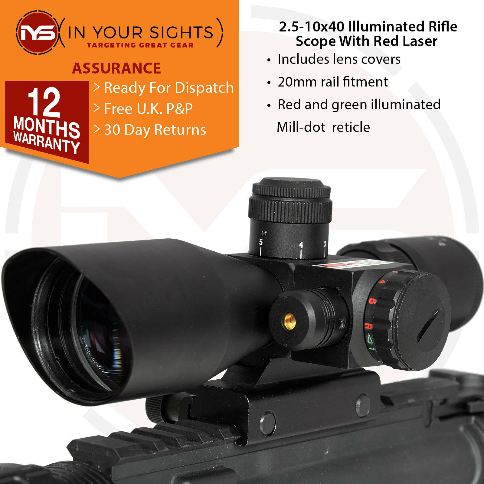 Rifle or Airsoft 2.5-10x40 rifle scope   Green & red dot sight with red laser