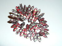 Wonderful Mix Of Matte Reds W/ Peacock Finish Czech Glass Dagger Beads 5x15mm
