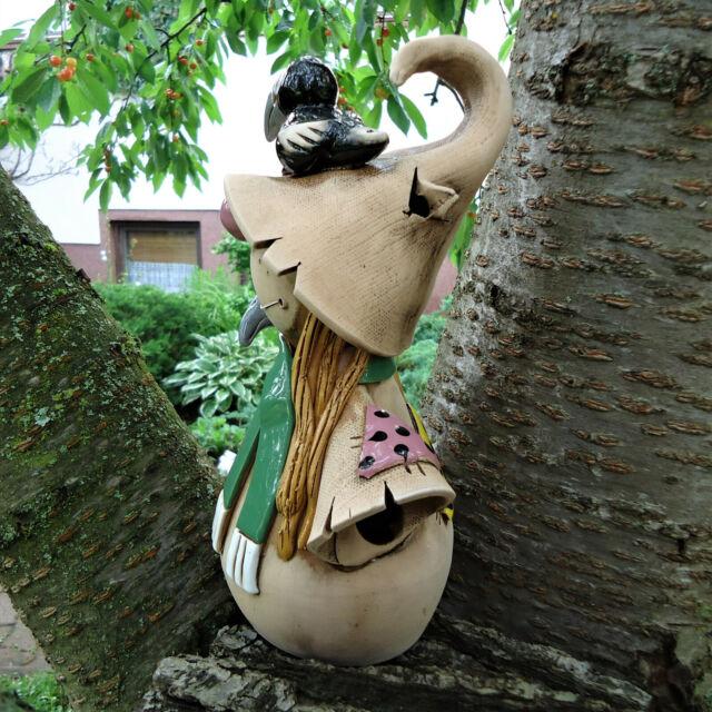 Keramik Ratte Speedy mit Fliege Hanf Haare Kantenhocker Gartenstecker lustig