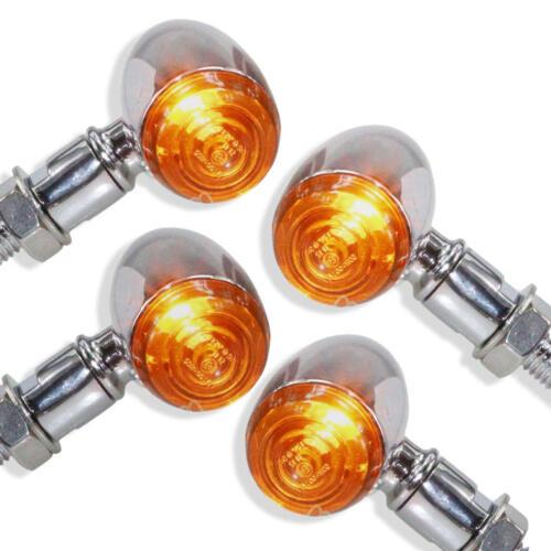 4PCS Motorcycle Chrome Retro Bullet Amber Turn Signals Lights Indicator Blinkers