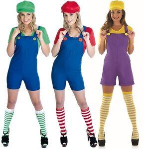 Ladies Mario Luigi Plumber Cartoon 80s Fancy Dress Costume Outfit 8 ...