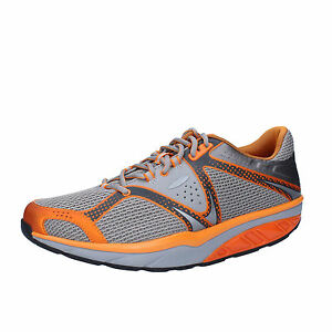 scarpe-uomo-MBT-42-EU-sneakers-grigio-arancione-tessuto-AC531-B