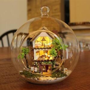 Mini Glass Ball DIY Dollhouse Miniature with Voice Control LED Lights Doll House