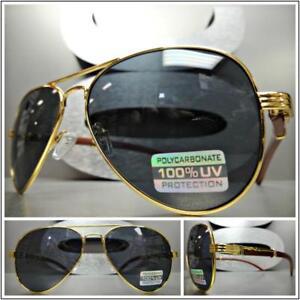 34ee2e94d5530 Homme Classique Style Rétro Vintage Lunettes de Soleil or   Bois ...