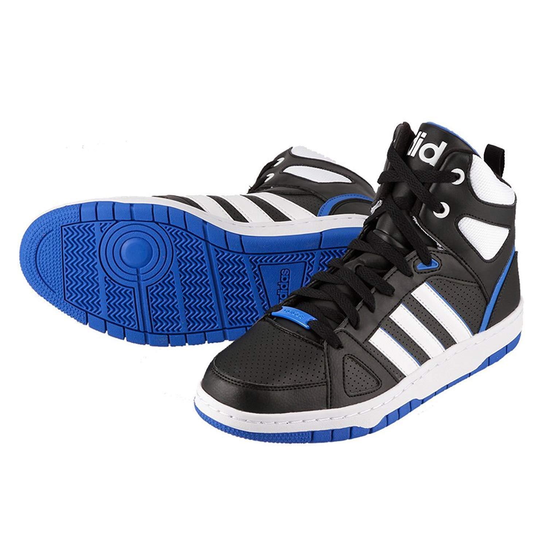 Adidas Férfi Hoops csapat Mid Hi oktatók fekete / fehér / kék Hi-Top F99601 UK 10