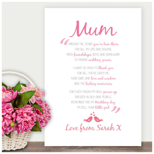 Mother of the Bride Wedding Gift Personalised Poem Verse Gift for Mum Mam