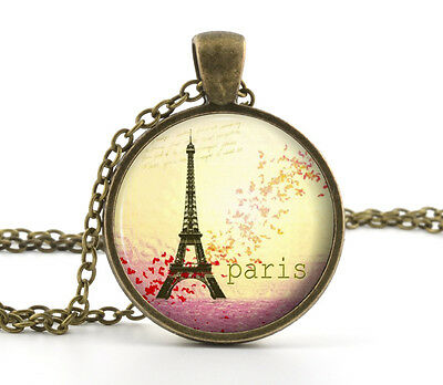 Vintage Eiffel Tower Pendant Necklace - Retro Red Flowers Paris Art Jewelry Gift