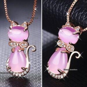 Rose-Or-amp-pierre-de-Lune-chat-renard-animal-Collier-Cadeaux-Noel-pour-elle-femme