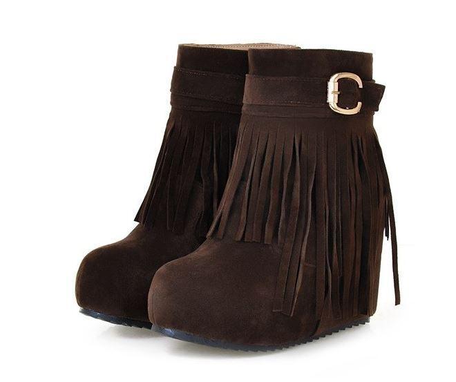 botas cómodo zapatos de flecos mujer marrón flecos de cuña 10 como piel 8786 ee57ed