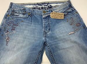 Men-039-s-River-Island-Slouch-Jeans-with-embroidery-amp-distressed-finish-36-x-30-No6