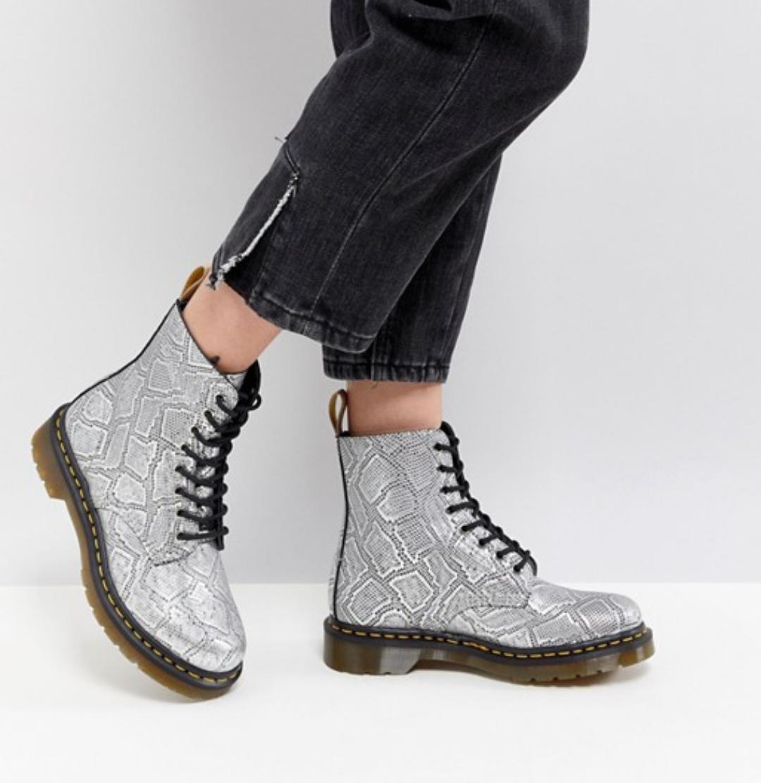 Dr. Martens mujer V Pascal Pascal Pascal Met Plata Serpiente botas al tobillo, tamaño 4UK, 6US, 37EU  ventas en linea