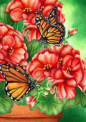 Toland Geraniums And Butterflies 28 X 40 House Flag Monarch Flowers Spring Ebay
