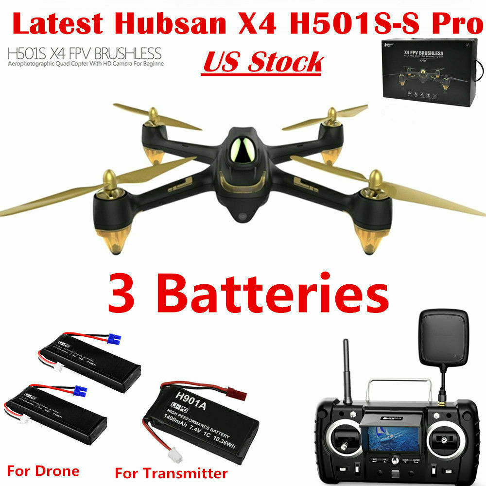 Hubsan H501S S Pro 5.8G FPV Brushless Drone 1080P GPS Quadcopter W// 3Batteries