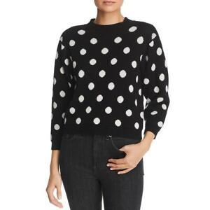 Joie-Womens-Brettina-B-W-Wool-Polka-Dot-Cropped-Crewneck-Sweater-M-BHFO-6262