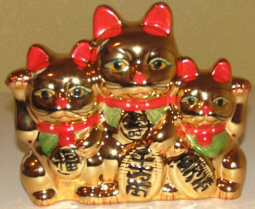 Maneki Neko Gold Waving Beckon 3 Cats Coin Piggy Bank Lucky Good Fortune,7 inch