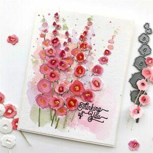 Metal-Cutting-Dies-Hollyhocks-Flower-Stencils-Scrapbook-Cuts-Embossing-DIY-Craft