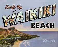 "Surfs Up At Waikiki Beach Collectible Metal 12"" x 15"" Decorative Tin Sign"